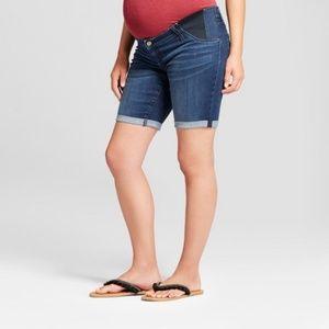 Maternity Inset Panel Bermuda Jean Shorts - Isabel